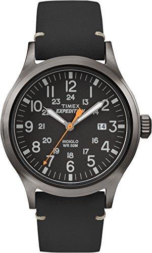Timex Expedition - Reloj análogico para Hombre de cuarzo con correa de cuero, Negro (Negro)