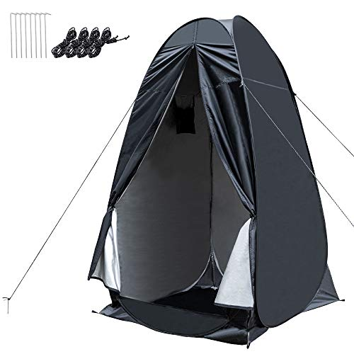 WOLFWILL Portable Pop Up Privacy Shower Tent - Dressing Changing Tent - Beach Camp Toilet Shower Changing Room Spacious Outdoor Shelter with Carrying Bag (Black)