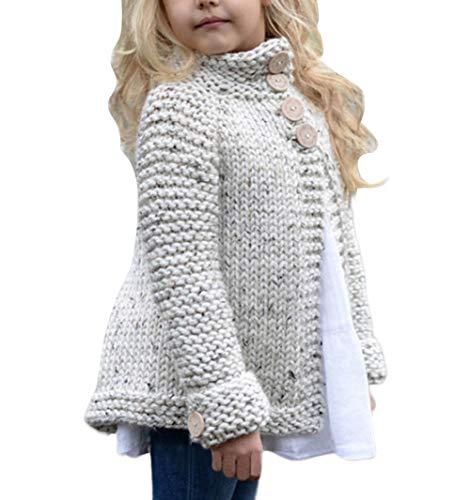 Carolilly Baby Mädchen Strickjake Cardigan mit Knopf-Verschluss Strickpullover Winterjacke (Beige, 1-2 Jahre)