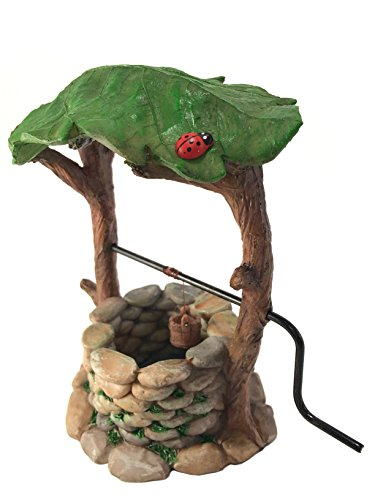 GlitZGlam Miniature Wishing Well with Movable Handle and Water Bucket for Garden Gnomes and Fairies -a Fairy Garden Accessory