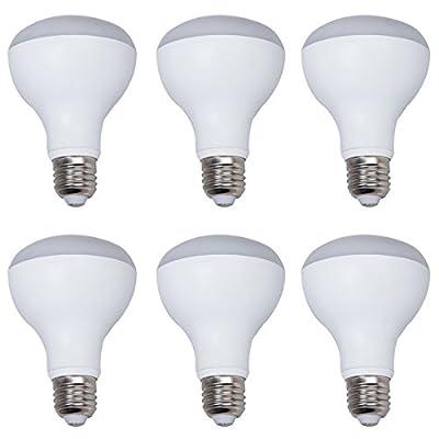 6-Pack Non-dimmable White Aluminum Housing LED R80 Light Bulbs E27 Base 9w (60w Equivalent) 180 Degree Beam Angel