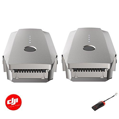 DJI Mavic Intelligent Flight Battery 2 Pack(Platinum) with Luckybird USB Reader