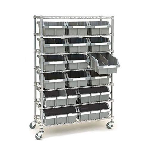 Seville Classics Commerical Grade NSF-Certified Bin Rack Storage Steel Wire Shelving System - 16 Bins - Gray