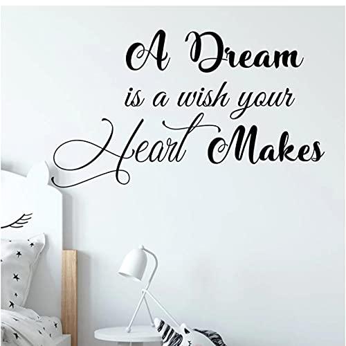 Un sueño es un deseo que tu corazón hace cita calcomanía de pared decoración de habitación de niños pegatina de pared de guardería motivación cita calcomanías de vinilo 57X33CM