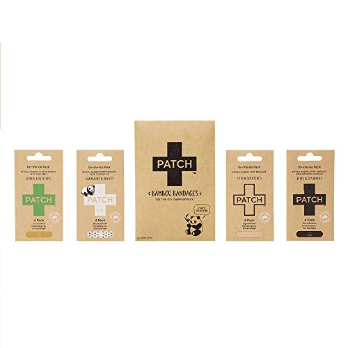 PATCH Eco-Friendly On The Go Sampler Pack Bamboo Bandages Hypoallergenic Latex Free Plastic Free Zero Waste 100% Compostable-For Sensitive Skin-Coconut Oil, Activated Charcoal, Aloe Vera, Natural,16ct