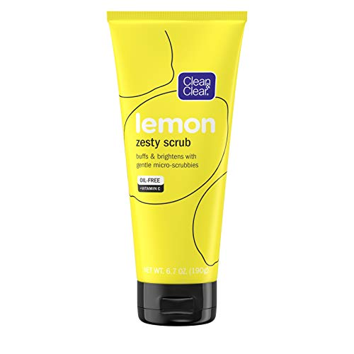 Clean & Clear Lemon Zesty Facial Scrub with Lemon Extract & Vitamin C, buffs & brightens with gentle micro-scrubbies, Oil-Free Vitamin C Face Scrub, 6.7 oz Vitamin C Facial Scrub Clean & Clear