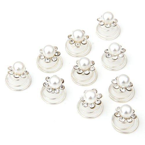 Power of Parfumes Miya® Lot de 12 Luxe Blanc cheveux araignées spirales à cheveux fleur en perles et strass, Mariée Mariage Cérémonie Bijoux