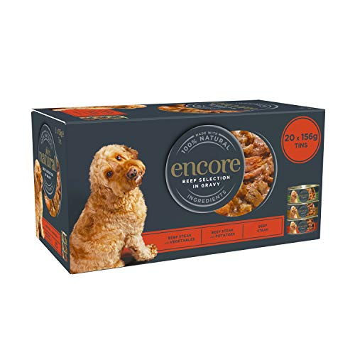 Encore 100{7f14bd91f31c6ebf87e6e0a46d24a192a53763f11d68a42f6b2a9b1b6950d520} Natural Wet Dog Food, Multipack Selección de Carne de Res de 156 g de Lata, Paquete de 20