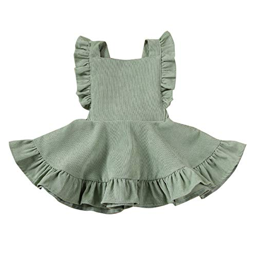 Specialcal Baby Girls Velvet Suspender Skirt Infant Toddler Ruffled Casual Strap Sundress Summer Outfit Clothes (6-12M, Style D-Bean Green)