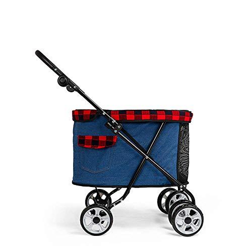Hoogwaardige kinderwagen voor huisdieren, panoramisch zonnedak, kruiskoppeling vooraan, afneembaar, opklapbare sleutel, de draagbare, lichtgewicht kinderwagen voor huisdieren,b
