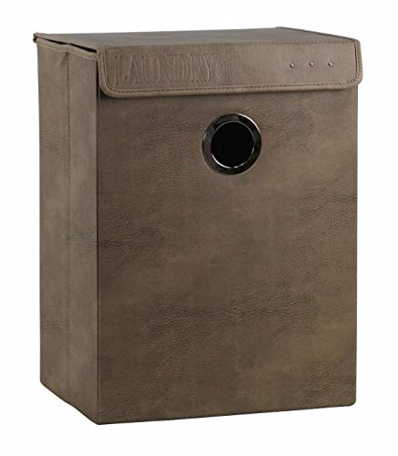Meubletmoi mand, opvouwbaar, rechthoekig, van PU-leer, bruin met metalen ring - basketbal