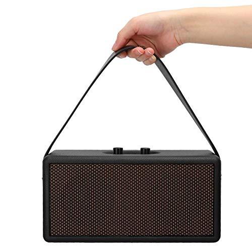 %5 OFF! M ugast Bluetooth Speaker, Black Wooden Speaker Subwoofer Bluetooth Speaker Rotary Knob Volu...