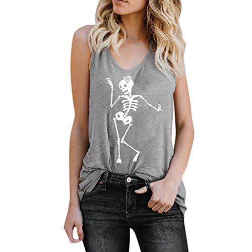 MEIbax Chaleco de Mujer con Estampado de Calaveras Camiseta de Verano Mujer Top Suelto sin Mangas Camisa de Mujer Jersey Tank Tops Mujeres Chaleco Tops Blusas Camisetas de Tirantes