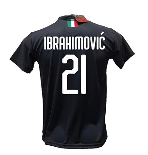 DND de Andolfo Ciro Terza Camiseta de fútbol Zlatan Ibrahimovic 21 Milan negro Away réplica autorizada 2019-2020 tallas de niño y adulto