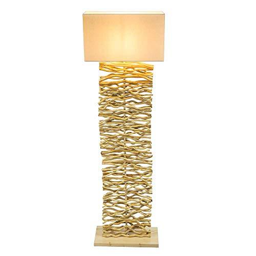 Luxe staande lamp slaapkamer bijzetlamp textiel scherm houten plafond schijnwerper Globo 21647S