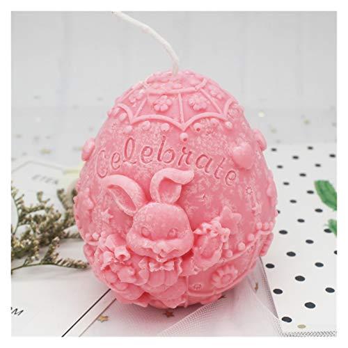 WEIGENG Molde de huevo de Pascua con diseño de conejito para velas, yeso, manualidades, chocolate, caramelos, decoración de velas, arcilla