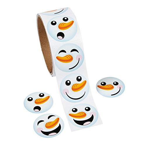 1 Roll ~ Happy Snowman Face Stickers ~ Approx. 1.5\
