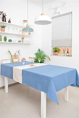 WOMGF Mantel Antimanchas Rectangular Mantel para Mesa de Cocina o Salón Lavable Diseño de Comedor Decoración del Hogar 40x130cm Azul