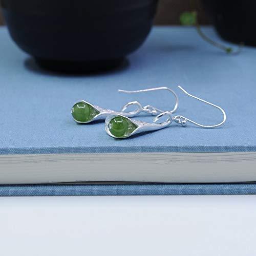 LOVEMLQL 925 Sterling Silber Ohrringe Handgefertigte Sterling Silber Design Lilie Jaspis Ohrringe 925 Silber BlüTenbläTter Personalisierte Ohrringe