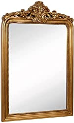 "Amazon Hamilton Hills Top Gold Baroque Wall Mirror | Rich Old World Feel Framed Beveled Elegant Glass Mirror Entryway Bathroom or Powder Room (24"" x 36"")"