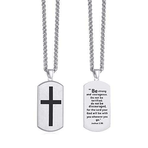 VNOX Religious Jesus Quote Scripture Christian Jewelry,Christian Bible Verse Inspiring Pendant Stainless Steel Scripture of The Cross Dog Tag Necklace for Men,Silver