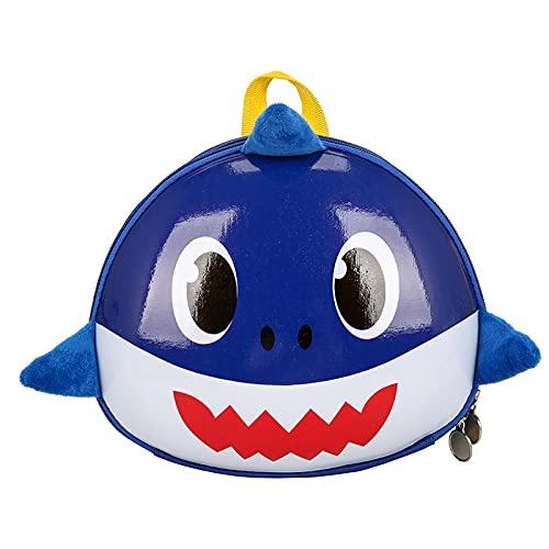 QINX Mochila infantil con cáscara de huevo, diseño de tiburón, para guardería, 2 – 5 años, impermeable, color azul