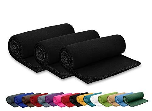 3er Set Polar Fleecedecke 130x160 cm ca. 400g schwer OekoTex mit Anti-Pilling und Kettelrand schwarz, weitere Farben erhältlich