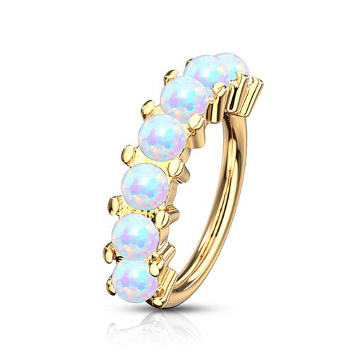 Helix piercing 7 opal steentjes gold plated