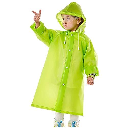 MMJS Rainponcho Y Niñas para Niños Al Aire Libre Impermeable Fuerte Translúcido con La Mochila con Capucha con Capucha Poncho,Verde,M