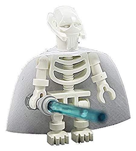 Custom Minifigur aus LEGO Star Wars Bauteilen: Skelett GENERAL GRIEVOUS mit weißem Umhang und Laserschwert
