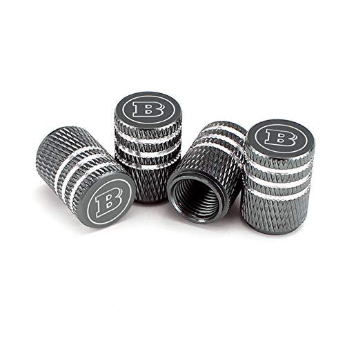 LINMAN Impresión láser B Letra B Válvula de neumáticos Tapas de Polvo de Aluminio Válvula de Rueda de neumático Válvula Tapa de Aire Tapas de Aire, Compatible con Mercedes Benz Ford Nissan Mazda