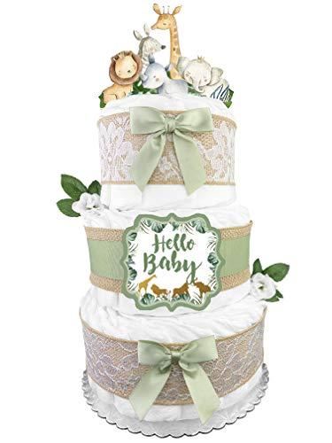 Safari Diaper Cake - Gender Neutral Baby Gift - Gender Reveal - Burlap...