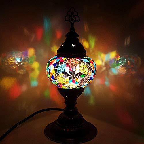 Hecho a Mano Turkish/Marroquí/Tiffany/Bohemio Estilo Mosaico de Vidrio Escritorio Lámpara de Mesa 29cm Alto