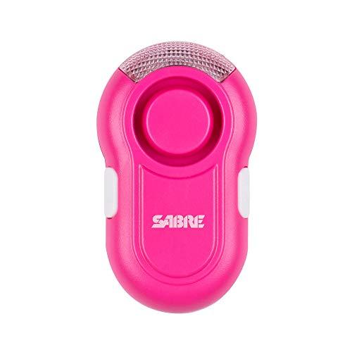 SabreRed Personen-Alarm mit Trageclip und LED Licht in Pink - Das 120 dB Alarmsignal ist ca. 185 Meter weit zu hören - Bleiben Sie sichtbar auch bei Nacht durch das integrierte LED-Licht
