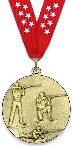 Medaglia in metallo personalizzabile - Tiro con rifle - Colore oro - 6,4 cm - Nastro incluso - Colori del nastro - Rosso - stelle bianche