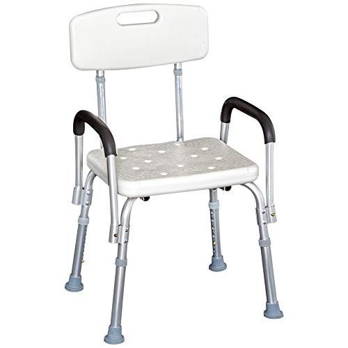 HOMCOM Sedile da doccia con schienale e braccioli Sedile da vasca, sedia regolabile in altezza