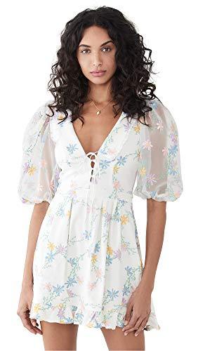 For Love & Lemons Women's Majorie Mini Dress, Ivory, White, Floral, X-Small