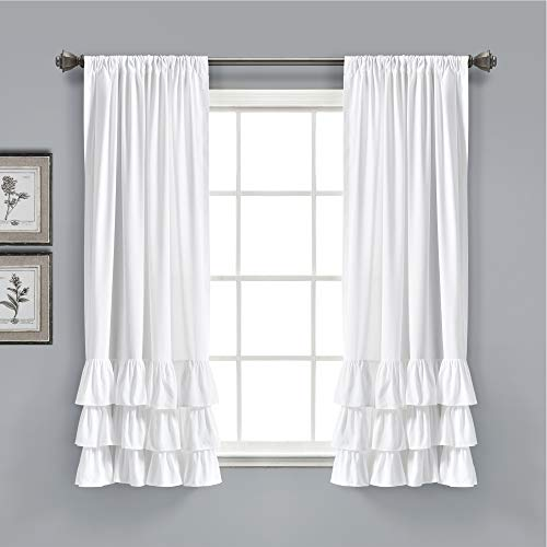 """Lush Decor, White Allison Ruffle Curtains Window Panel Set for Living, Dining Room, Bedroom (Pair), 63"""" x 40"""", 63"""" L"""