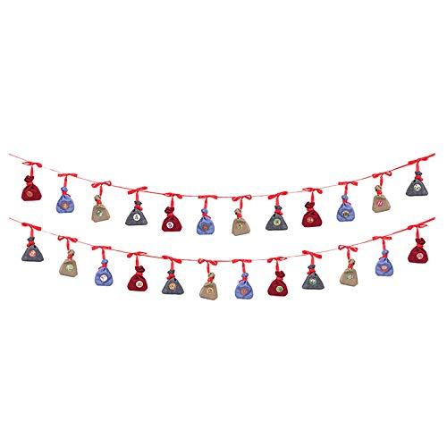HINK Calendario de Navidad Bolsas de Regalo Colgantes de Cuenta Regresiva de 24 días para la decoración del...