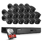 SANNCE Kit de Seguridad 16CH DVR 1080N con 1TB Disco Duro de Vigilancia + 16 1080P Cámaras Sistema de Videovigilancia IP66 Impermeable Visión Nocturna - 1TB HDD