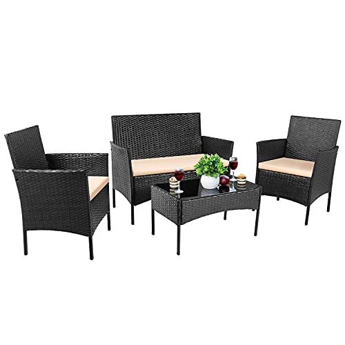 Devoko 4 Pieces Patio Porch Furniture Sets PE Rattan Wicker Chairs Beige Cushion with Table Outdoor...