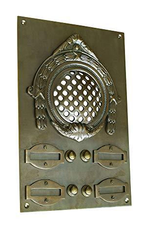 Graf von Gerlitzen Antik Messing Tür Klingel 4 Gründerzeit Türklingel Klingelschild Klingelplatte Tür Sprechanlage Speek-4A