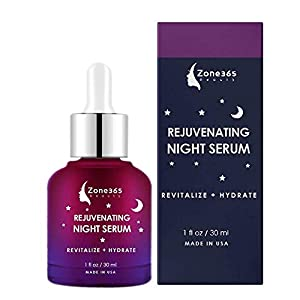 Night Serum Skin Care, Visibly Reduce Wrinkles and Imperfections, Hyaluronic Acid Vitamin E and Witch Hazel. Advanced Night Facial Serum 1fl oz