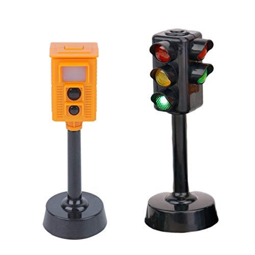 TOYANDONA 2 Stück Ampel Spielzeug Mini Verkehrszeichen Licht Modell Spielzeug LED Ampel Kind Pädagogisches Spielzeug für Tabletop Railroads Auto Matten