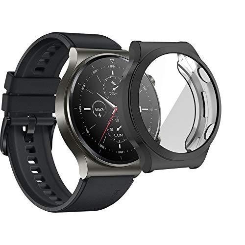 KONEE Hülle Kompatibel mit Huawei Watch GT 2 Pro, Rundum Schutzhülle mit Displayschutzfolie, [Anti-Fleck] [Kratzfest] Ultradünne TPU Schutzhülle für Huawei Watch GT2 Pro - Schwarz