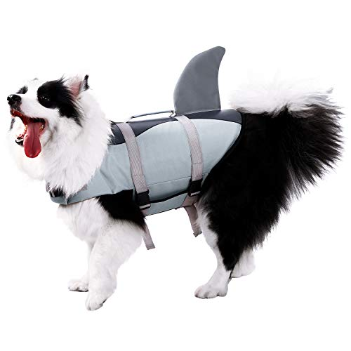 Phyxin Dog Life Jacket Adjustable Dog Safety Vest Pet Life Jackets for Dogs with Rescue Handle Flotation Lifesaver for Dog Life Vest for Swimming Water Safety for Pool Beach Boating L
