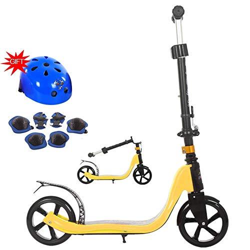 SZNWJ Ygqtbc Mangosta traza Kick Scooter Plegable de la Serie, Dispone de liberación rápida de Altura Ajustable Manillar y Pata de Cabra con Las Ruedas, múltiples Colores Disponibles (Color : Yellow)