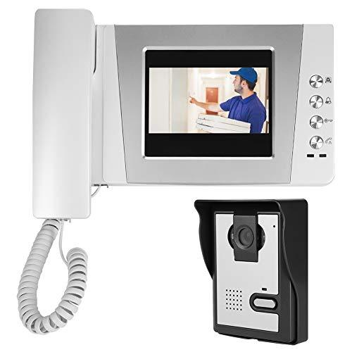 Videoportero, Videoportero con Cable, Timbre, Sistema de Intercomunicación con Pantalla HD de 4.3 Pulgadas, Soporte Conversación Bidireccional, Visión Nocturna, Sistema de Entrada de Intercomun.(EU)