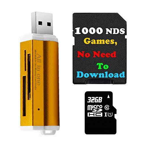setro 32 GB TF-Karte mit 1100 NDS-Spielen und USB-Reader für DS DSI 2DS 3DS