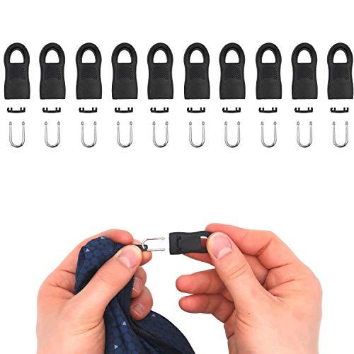 Reißverschluss Anhänger zur Reparatur, 10 Pack, 35 mm Länge, steckbar, Ersatz Zipper für Reißverschluss, Reißverschluss Schieber für Jacke, Rucksack, Hose, Zelt, Reißverschluss Slider Laschen schwarz